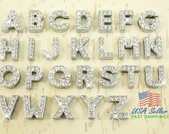 Pick Choose Your Own Slide Letters Charms Wholesale Full Rhinestone 8mm Pick Choose Your Own A-Z Alphabet Rhinestone Slide Charm Letters