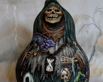 """The Swamp Ghoul, Halloween, creepy, hand painted, gourd art, 11"""" tall"""
