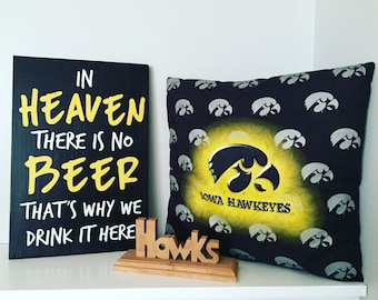 Iowa Hawkeye wood sign. Man cave. Iowa