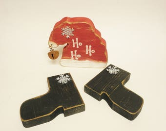 Santa Hat & Boots Set, Christmas Decor, Primitive Country Decor Shelf Sitters