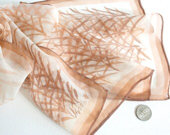 Sheer Vera Neumann brushwork scarf. Bamboo motif, reed motif, brown and white scarf, vera ladybug scarf, oblong scarf, summer scarf