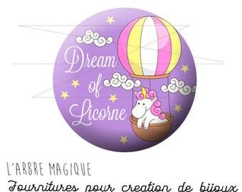 2 cabochons glue ref pastel pink Unicorn 1588 - glass 14 mm-