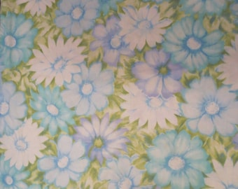 Vintage Floral Pillowcase / ONE pillowcase / Cannon Monticello / blue green floral / Shabby Chic Cottage