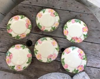 Six Franciscan Desert Rose Eight-Inch Plates