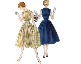 50s Hourglass Dress pattern Full Skirt Dress pattern vintage 30-25-33 XS  Fit and Flare dress pattern One Piece Dress pattern McCalls 9803