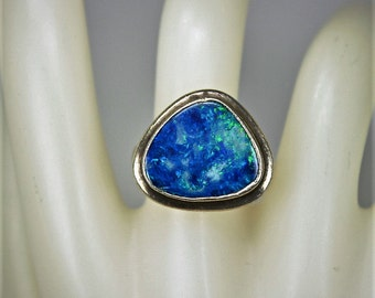Vintage Hand Fabricated Ring Sterling Silver Australian Black Opal Sz 7 c1970s