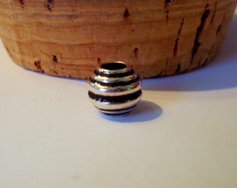 Acrylic set of 5 spiral beads antique 10 mm x 10 mm silver color