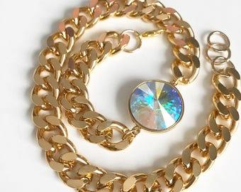 Swarovski Aurora Crystal Gold Wrap Bracelet, Crystal Jewelry, Crystal double wrap gold bracelet, Swarovski double wrap chain, bracelet