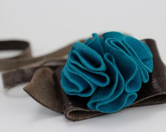 Turquoise Suede Leather Flower Cuff Bracelet