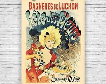 Bagneres De Luchon, Fete Des Fleurs, Dimanche 10 Août, Art Print Poster by French Painter Jules Cheret