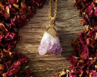 Raw Purple Quartz Pendant Necklace