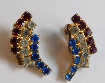 Vintage Estate Kramer Red White Blue Rhinestone Studded Clip On Earrings