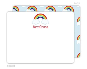 Rainbow Note Cards - Personalized Flat Note Cards - Rainbow Notecards - Kids Stationery - Kids Thank You Cards - Rainbow Stationery