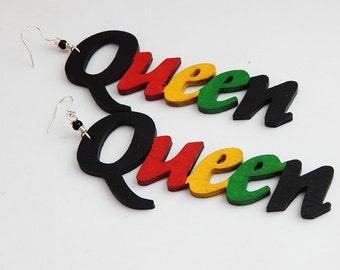 Rasta Queen Earrings Wood Hand painted Queens Jewelry Afrocentric African Rasta Black Wooden Jewellery Handmade Ethnic Earrings Woman