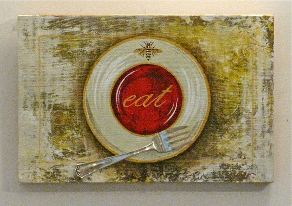 wall art  gold bee dinner plate painted on reclaimed rustic solid wood board