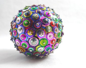 1 Handmade Sequin Ornament Ball KALEIDOSCOPE Multi-Color NEW Home Decor MEDIUM