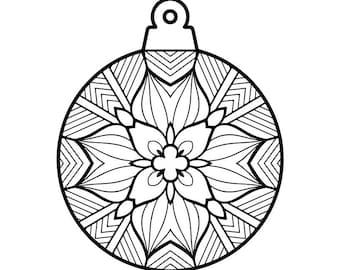 Winter Mandala Holiday Printable Coloring Page Instant
