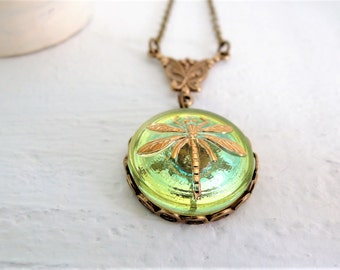 Dragonfly Necklace Nature Jewelry Green Yellow Gold Pendant Bohemian Glass Button Vintage Style Necklace Czech Glass Victorian Garden