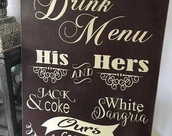 Signature Drink Menu, Wedding Bar Decor, Reception Decor, His and Hers Drink Menu, Table Decor, Wedding Handmade, Centerpiece