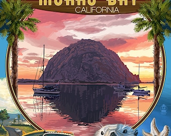 Morro Bay, California - Montage (Art Prints available in multiple sizes)