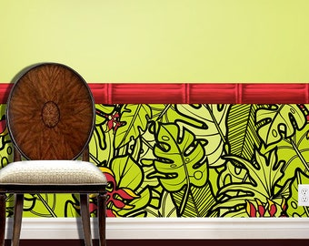 Exotic Jungle Leaves Peel and Stick Wallcovering Wainscot Wallpaper Wall Decals with Your Choice of Trim