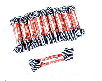Vintage Hanro Shoelaces - Navy and White Twist 68cm (Price per Pair)