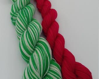 Bushy Evergreen Elf Self Striping Sock Yarn Set