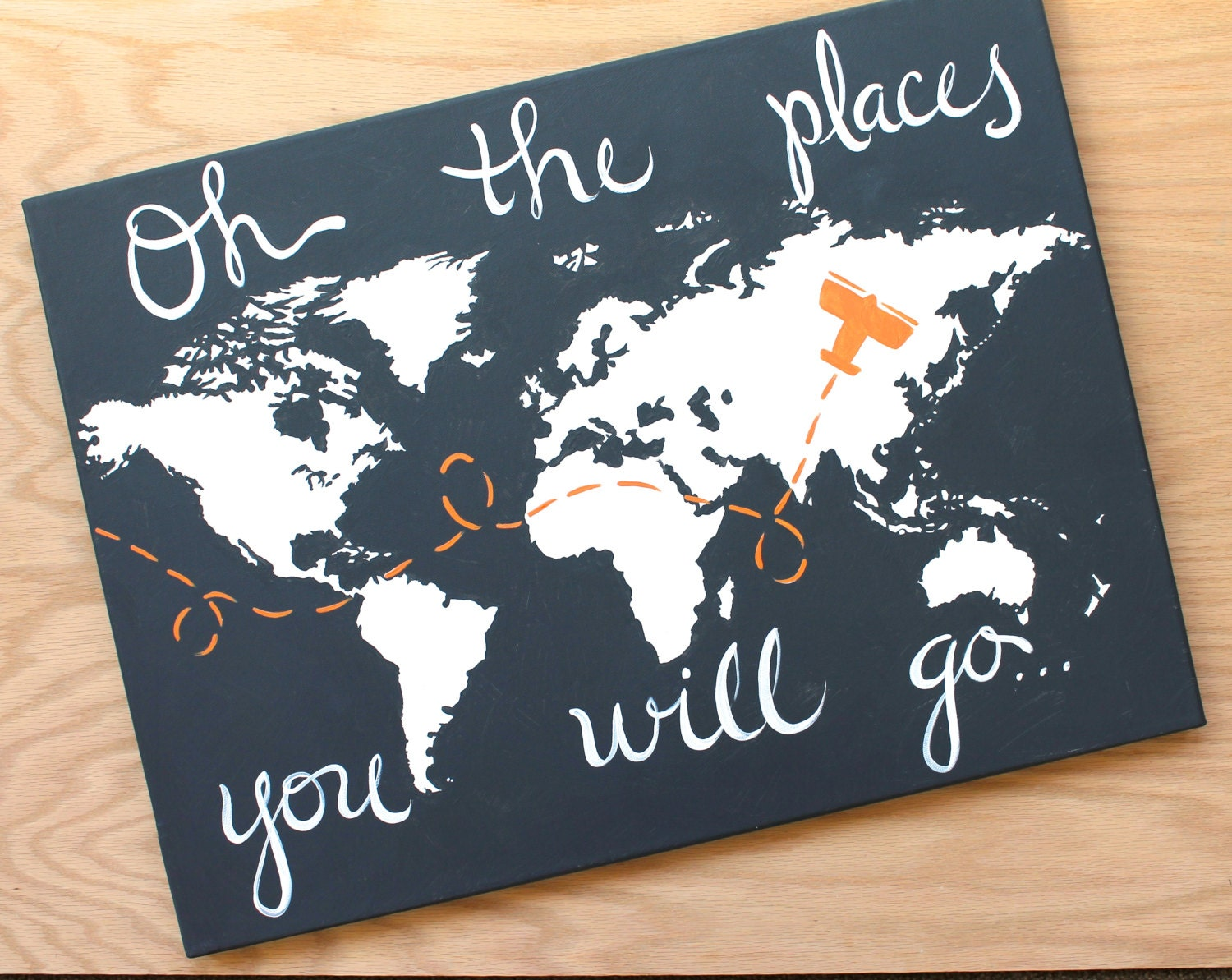 World Map On Canvas Oh The Places You Will Go 1 18x24
