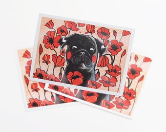 Pug Card, Black Pug with Poppies Card, Pug Gift, Valentine's Love Pug Card, Pug Love, Dog Art, Pug Illustration,Black Pug with Flowers Print