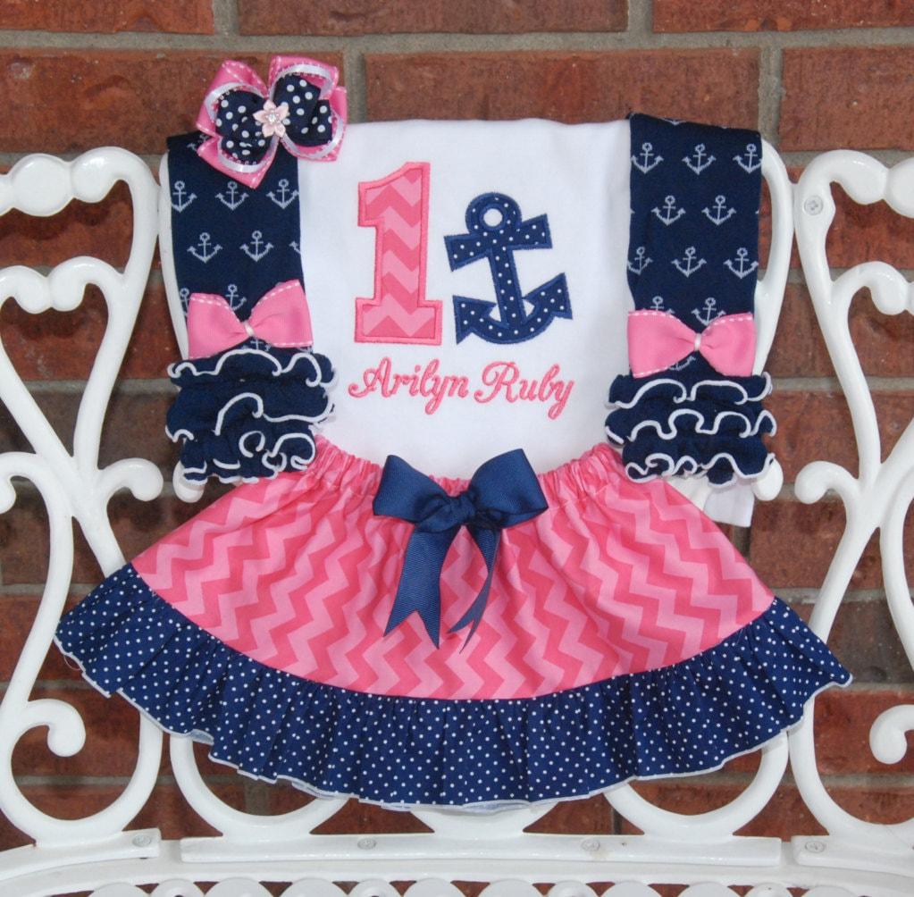 4 pc. Las niñas traje de cumpleaños náutico Bebé niña ancla