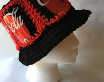 Recycled Coke Zero Sugar soda can crocheted hat