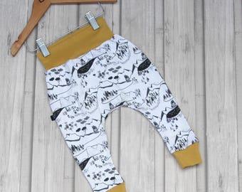 Baby Harem Pants - Toddler Harem Pants - Map Print Pants - Organic Baby Harems - Organic Pants - Monochrome Print Harems - Baby Leggings -