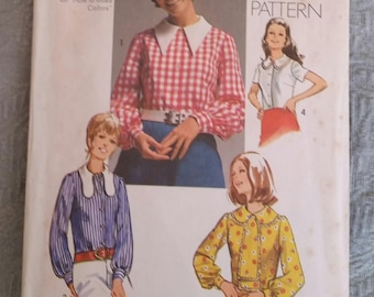 Vintage 1970 Simplicity Pattern 9177 Collared Shirt