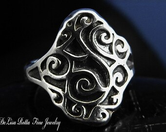 Super Sale, Last One, Size 4.5, Recycled Silver Hand Carved Swirl Ring