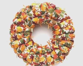 Fall fabric wreath, fall decor, door / wall decoration, autumn decor,  Thanksgiving decor / centerpiece