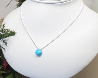 Turquoise Necklace, December Birthstone, Blue Gemstone Necklace In Sterling Silver, 16-18.75 Inches Length, Keira's Crystal Creations