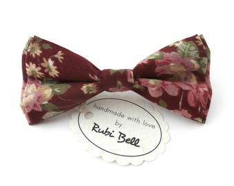Bow Tie - floral bow tie - wedding bow tie - maroon bow tie with pink and green flower pattern - man bow tie - men bow tie