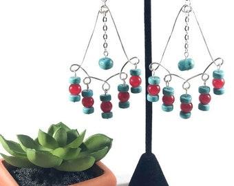 Chandelier Earrings / Turquoise and Red Earrings / Spanish Earrings / Mexican Earrings / Wire Earrings / Dangle Earrings