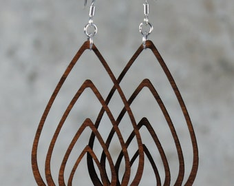 Nested Teardrops Dangling Earrings- Laser Cut Wood Earrings