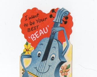 I Want To Be Your Best Beau 1950s Vintage Valentine Valentine's Day Greeting Card Romance, Love, Funny