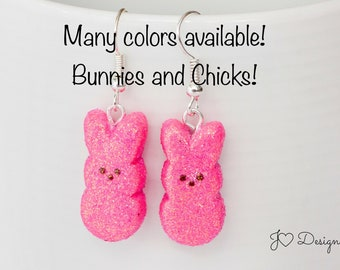 Marshmallow Earrings, Bunny Earrings, Chick Earrings, Easter Earrings, Easter Candy Earrings, Easter Basket Stuffers, Easter Gifts