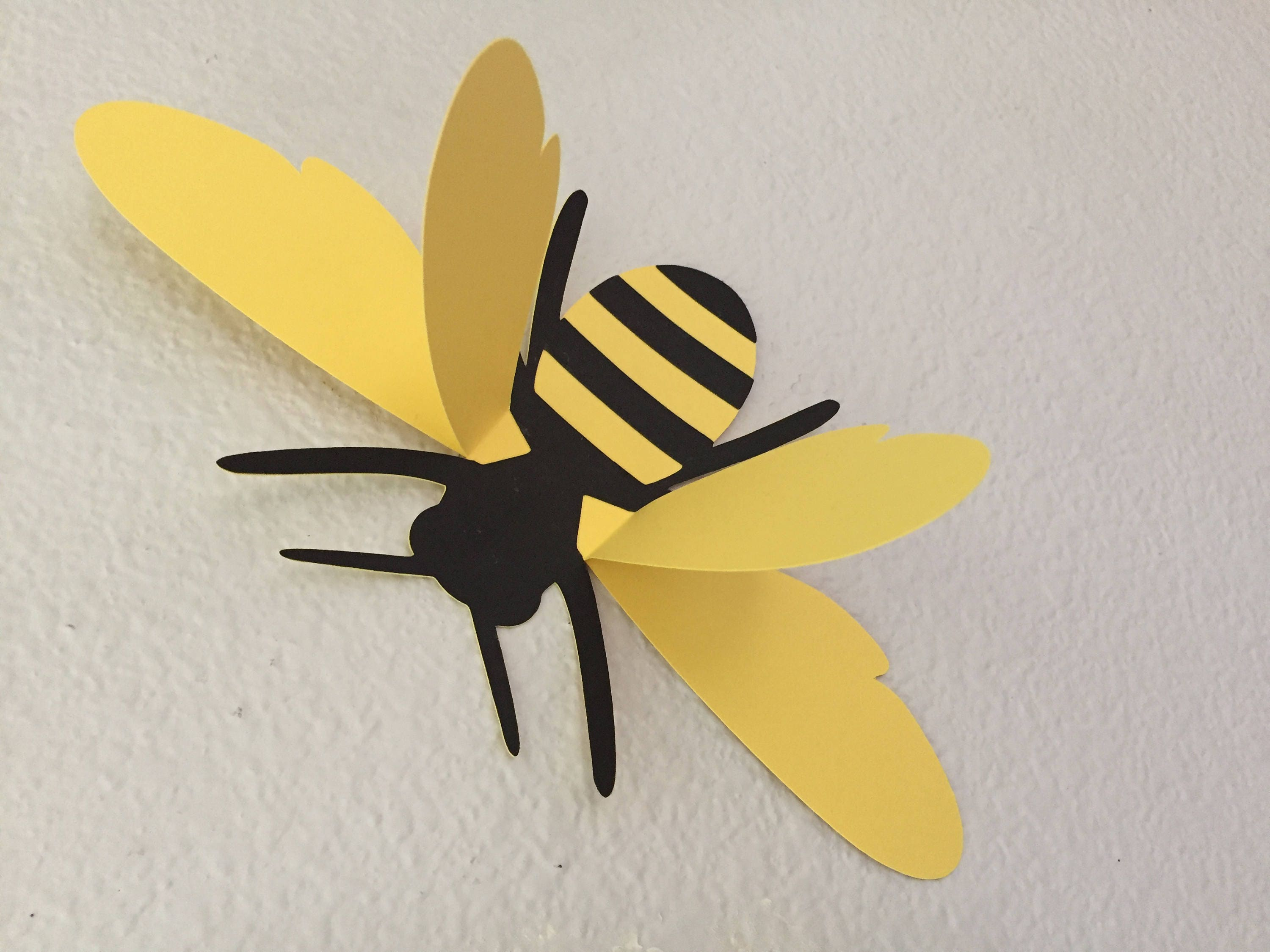 3D bees wall bees paper wall art bee silhouettes large 3D