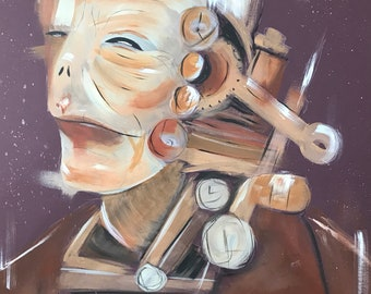 Mechanical Man Acrylic Painting on Mount Board