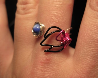 Wire Wrapped Eeyore's Tail MADE to ORDER Ajustable Ring