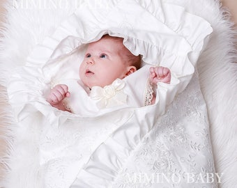 IZOLDA christening blanket, baptism blanket, blessing blanket, heirloom blanket, swaddling blanket, receiving blanket, christening cover