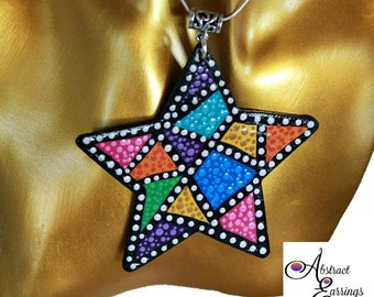 Colorful Retro Pendant,Star 80s 90s Style Fashion Polka Dot Pendant Necklace, Birthday Girl Jewelry, Fun Wooden Upcycled Purse Jewelry