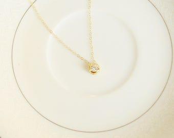 Round Cubic Zircon Gold Pendant Necklace, Simple Layering Necklace, Bridesmaid Necklace, Wedding Necklace, Simple, Dainty