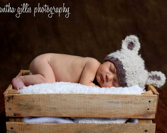 Lamb hand knit curly baby hat newborn photo prop cream white brown taupe boy girl unisex unigender animal beanie with ears sheep neutral