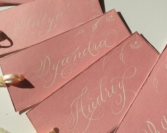 Name Tag / Place Cards with ribbon and flourish