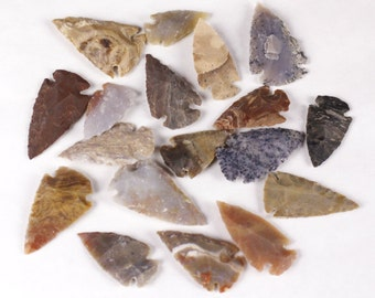 "Multipack 1.5"" Agate Arrowheads Stone Knapped Arrowhead Spear Point Reproductions"